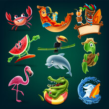 Set Of Animals And Characters For The Summer