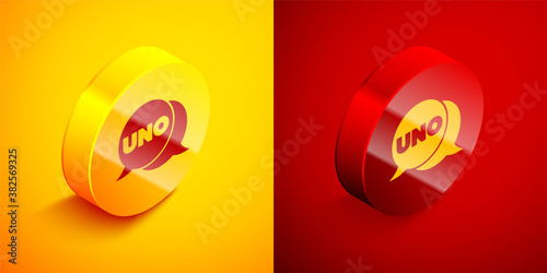Fotografía Isometric Uno card game icon isolated on orange and red background