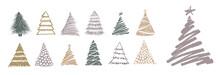 Christmas Tree Hand Drawn Illustrations. Vector.