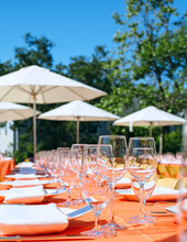 Outside Place Setting For A Large Party