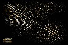 Abstract Halftone Circular Background. Gold, Grey, Amber Dot Pattern On Black Background. Bright Vintage Wallpaper Vector Illustration. Shining Vibrant Retro Glow. Modern 3d Art Design