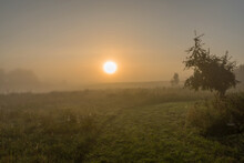 Sunrise On An Early Autumn Day In The Uckermark, Germany