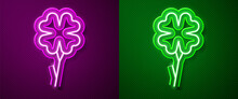 Glowing Neon Line Four Leaf Clover Icon Isolated On Purple And Green Background. Happy Saint Patrick Day. Vector.