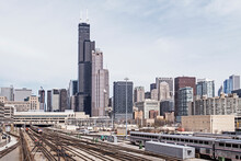 Chicago Skyline Seen From The South, Railways To Union Staion In Front