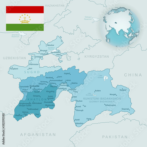 Fototapeta Blue-green detailed map of Tajikistan administrative divisions with country flag and location on the globe. obraz