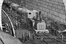 Construction Of Gotthard Tunnel, Switzerland. Compressed Air Locomotive Used For Debris Removal. Antique Illustration. 1882.
