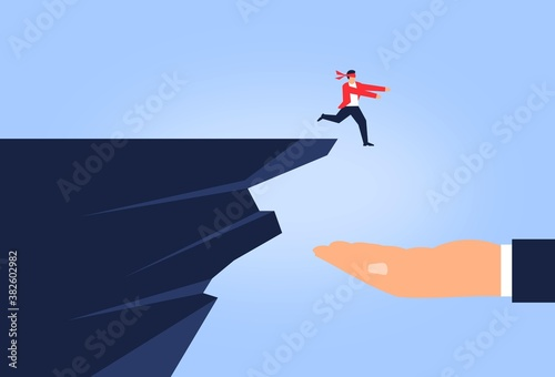 Fototapeta Trust concept. Man jumping to hand