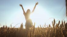 Happy Woman Walking On A Wheat...