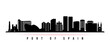 Port of Spain skyline horizontal banner. Black and white silhouette of Port of Spain City, Trinidad and Tobago. Vector template for your design.
