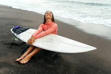Young Attractive Surfer Woman ...