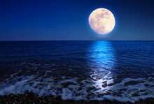 Full Moon With Reflections On ...