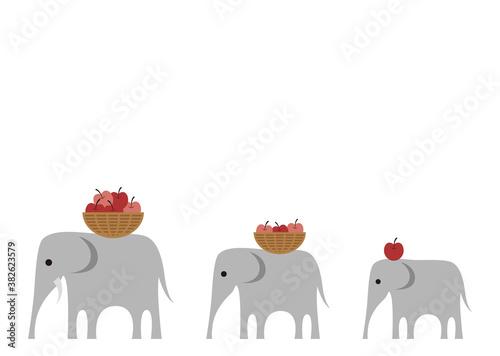 象の親子のイラスト Wallpaper Mural