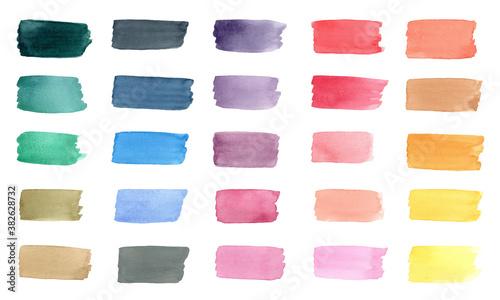 Fototapeta Colorful watercolor brush stroke collection