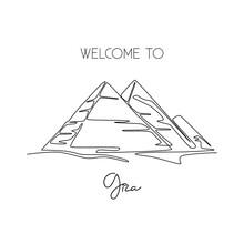 Single One Line Drawing Pyrami...