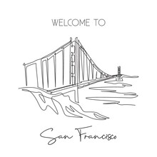 One Single Line Drawing Golden Gate Bridge Landmark. Iconic Place In San Francisco, USA. Tourism Travel Home Decor Wall Art Poster Print Concept. Modern Continuous Line Draw Design Vector Illustration
