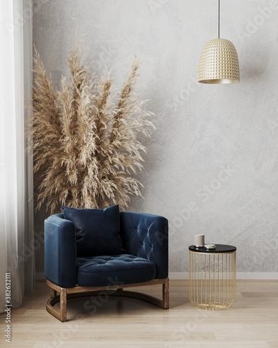 Fototapeta Modern luxury living room interior, dark blue armchair with black and gold coffee table near window on wooden floor, empty gray wall, contemporary living room interior backgorund, 3d illustration obraz