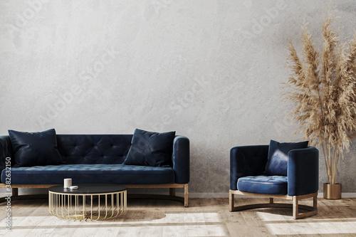 Obraz Modern scandinavian style living room interior mock up with dark blue sofa and armchair, living room interior background, 3d rendering - fototapety do salonu