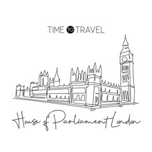 Single Continuous Line Drawing House Parliament London Landmark. Famous Place In England, United Kingdom. World Travel Home Wall Decor Poster Concept. Simple One Line Draw Design Vector Illustration
