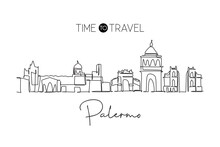One Single Line Drawing Palermo City Skyline, Italy. Historical Skyscraper Landscape In World. Best Holiday Destination Home Wall Decor Poster. Trendy Continuous Line Draw Design Vector Illustration