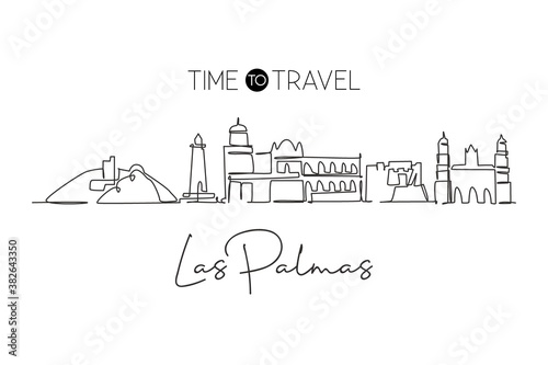 Single continuous line drawing Las Palmas city skyline, Spain. Famous skyscraper landscape postcard. World travel home wall decor poster print concept. Modern one line draw design vector illustration