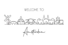 Single Continuous Line Drawing Of Amsterdam City Skyline, Netherlands. Famous Skyscraper Landscape Postcard. World Travel Wall Decor Poster Art Concept. Modern One Line Draw Design Vector Illustration