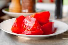 Sliced Tomato. Close-up Juicy ...