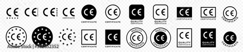 Fototapeta CE marking is a mark for products informing about compliance with the essential requirements of directives and harmonized standards of the European Union. Vector icon quality guarantee. Vector. obraz