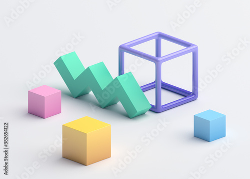 Abstract 3d render, colorful geometric composition, background design with cubes