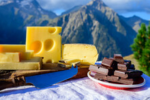 Tasty Swiss Cheeses And Dark P...