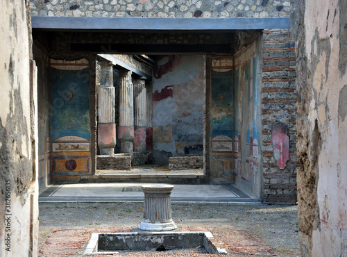 Ruins of Ancient Roman city of Pompeii Italy, was destroyed and buried with ash Canvas Print