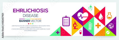 Photo Creative (Ehrlichiosis) disease Banner Word with Icons ,Vector illustration