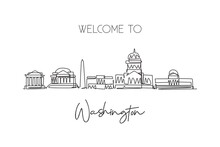 One Continuous Line Drawing Of Washington City Skyline, United States. Beautiful Landmark. World Landscape Tourism Vacation Poster Print Wall Decor. Stylish Single Line Draw Design Vector Illustration