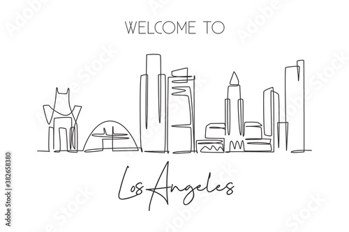 Valokuva One continuous line drawing of Los Angeles city skyline, United States of America