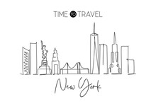 Single Continuous Line Drawing Of New York City Skyline, USA. Famous City Scraper And Landscape. World Travel Concept Home Wall Decor Poster Print Art. Modern One Line Draw Design Vector Illustration