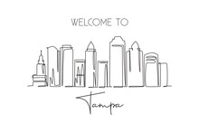 Single Continuous Line Drawing Of Tampa City Skyline, USA. Famous City Scraper And Landscape. World Travel Concept Home Wall Decor Poster Print Art. Modern One Line Draw Design Vector Illustration
