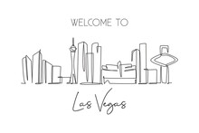 Single Continuous Line Drawing Of Las Vegas City Skyline, USA. Famous City Scraper And Landscape. World Travel Concept Poster Print Art. Editable Stroke Modern One Line Draw Design Vector Illustration
