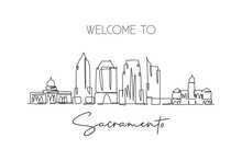 One Single Line Drawing Of Sacramento City Skyline, California. Historical Town Landscape In The World. Best Holiday Destination. Editable Stroke Trendy Continuous Line Draw Design Vector Illustration