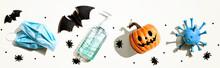 Masks And Sanitizer Bottle Wit...