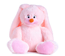 Pink Bunny Soft Toy On White B...