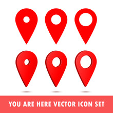 Set Of You Are Here Gps Navigation Map Pointer. Vector Map Marker Icon That Points Location. Web Element Design. Place Navigation Sign.