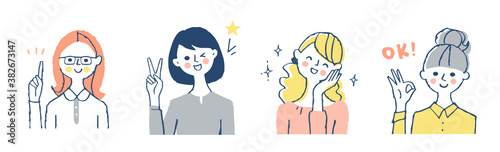 Obraz na plátně 様々なポーズの笑顔の女性 4人