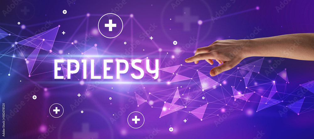 Fototapeta Close-Up of cropped hand pointing at EPILEPSY inscription, medical concept