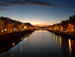 sunset over the river Liffey by the Temple Bar district