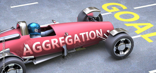 Photo Aggregation helps reaching goals, pictured as a race car with a phrase Aggregati