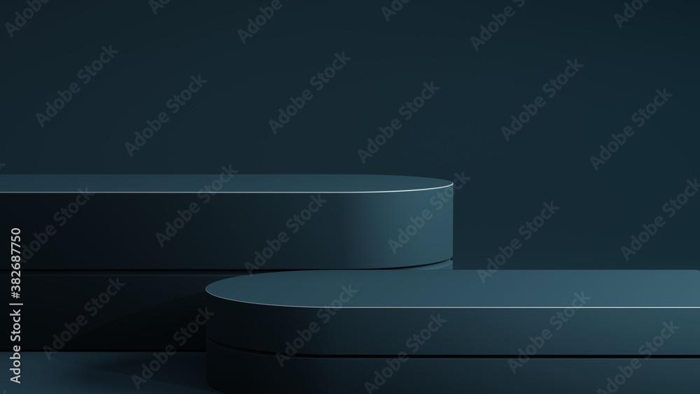 Fototapeta Petrol blue double podium on blue background. Minimal cosmetic background for product presentation. 3d rendering