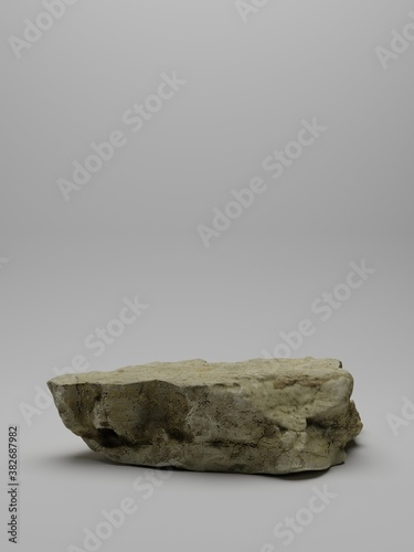Brown stone rough plate object display podium. Pedestal for product showcase. Grey background. 3d rendering
