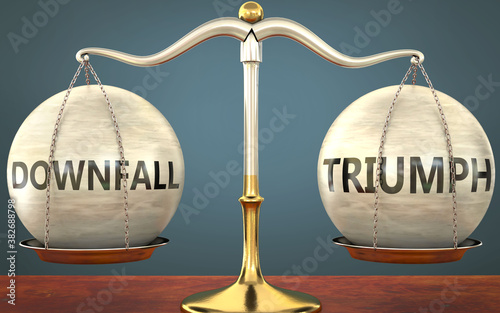 Fotografía downfall and triumph staying in balance - pictured as a metal scale with weights