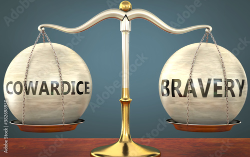 Fototapeta cowardice and bravery staying in balance - pictured as a metal scale with weight