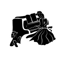Girl Playing Piano, Dog Sitting