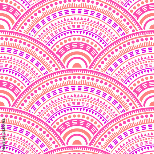 Ethnic circle shapes seamless geometric pattern. Canvas Print